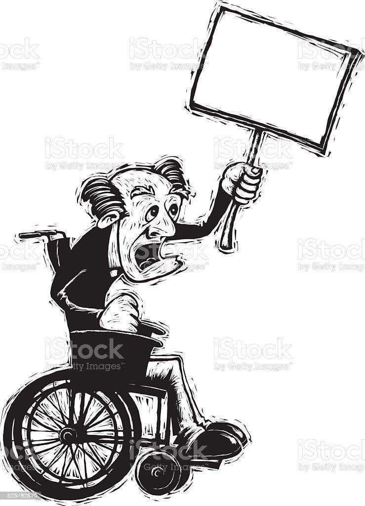senior man in wheelchair vector art illustration