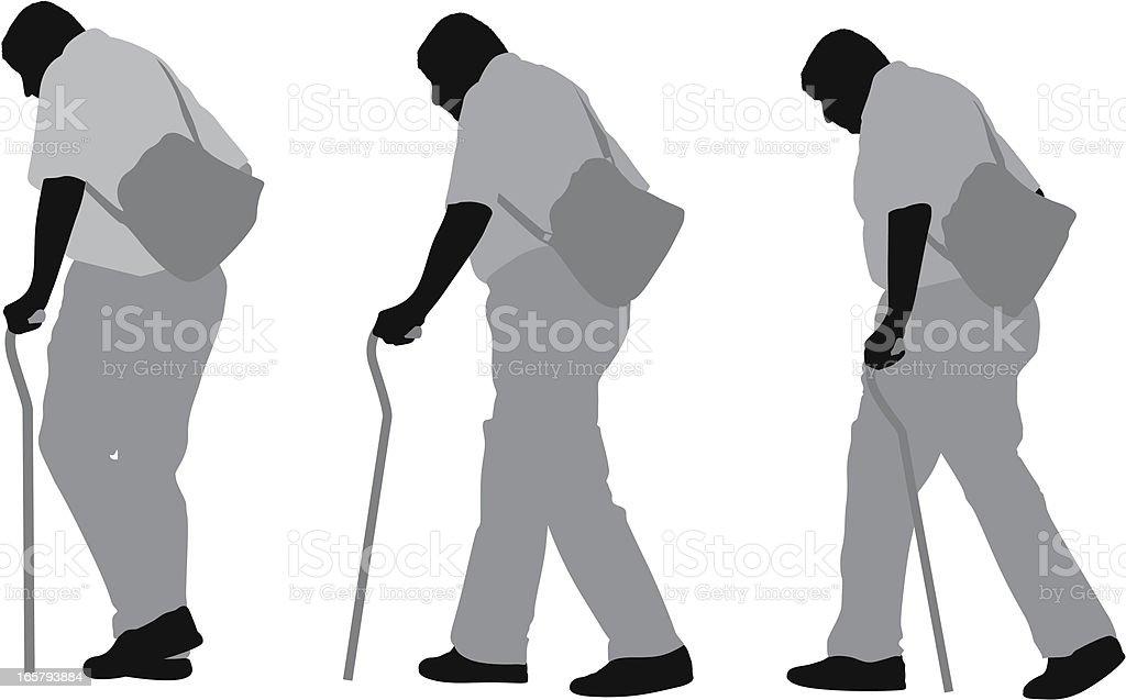 Senior man walking with cane vector art illustration