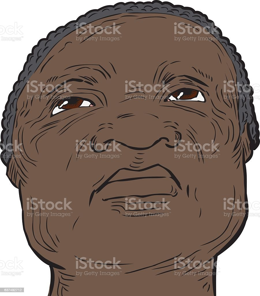 Senior man with serious expression looking up vector art illustration