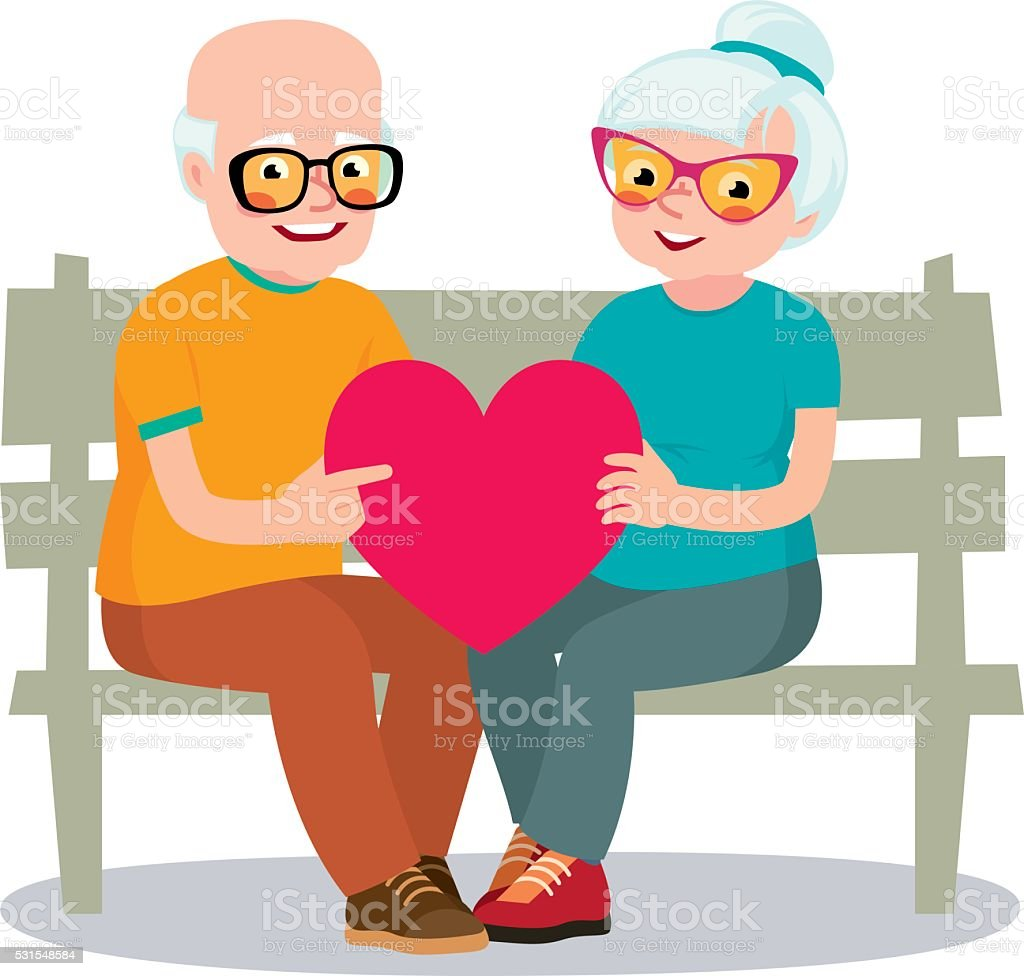 Senior married couple sits on a bench holding a heart symbol vector art illustration