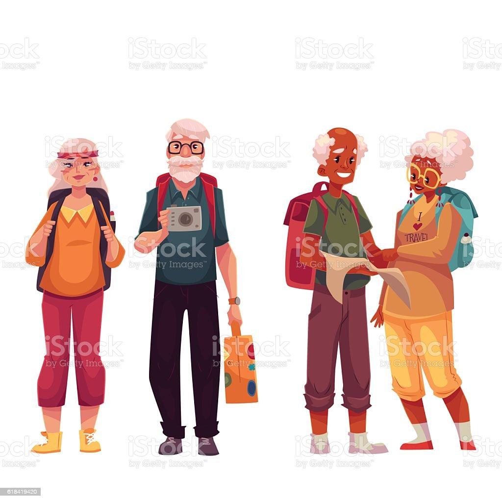 Senior, old couple travelling with backpacks vector art illustration