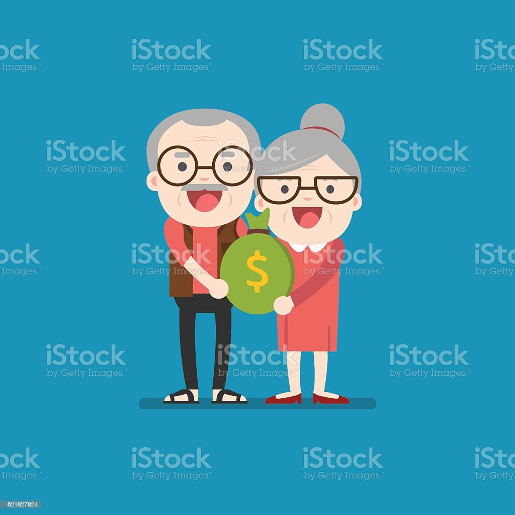 Senior people carrying retirement savings bag vector art illustration