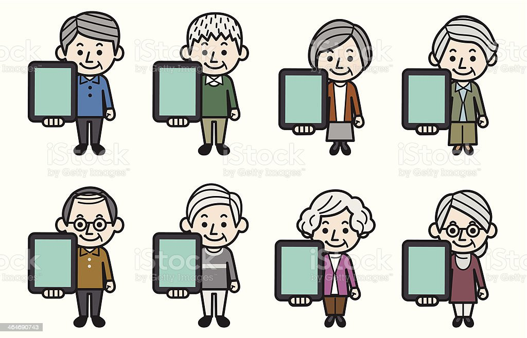 Senior people with tablet. royalty-free stock vector art