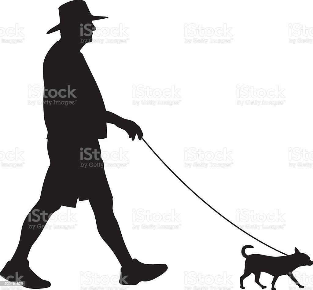 Senior Walking Small Dog Silhouette vector art illustration
