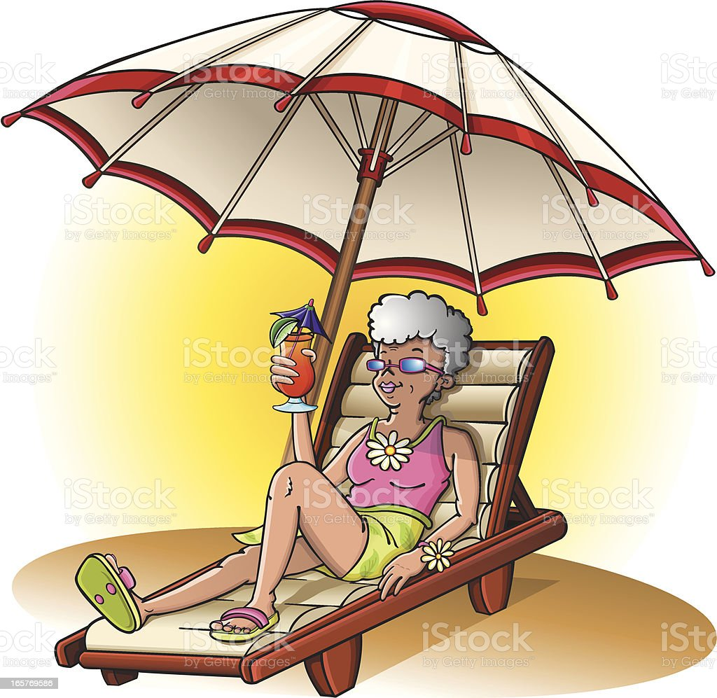 Senior woman at the beach vector art illustration