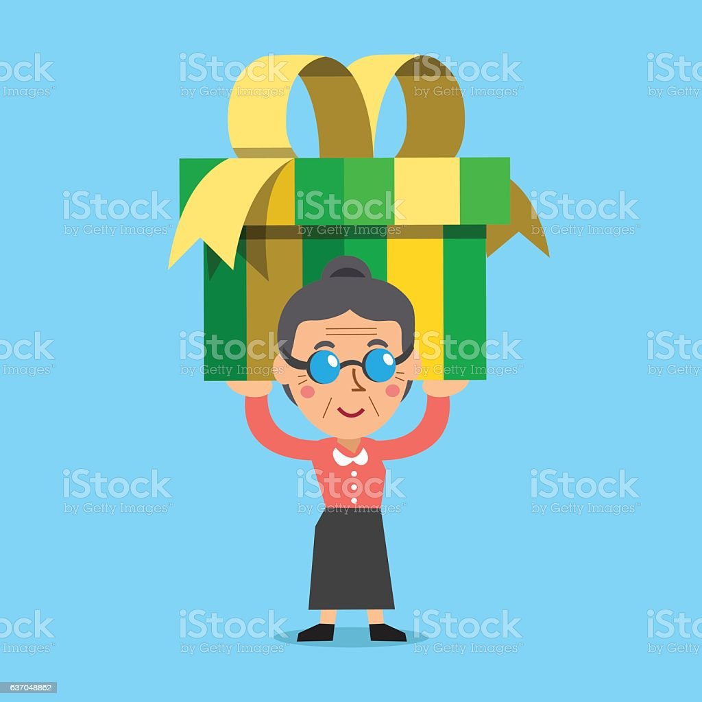 Senior woman carrying a big gift box vector art illustration