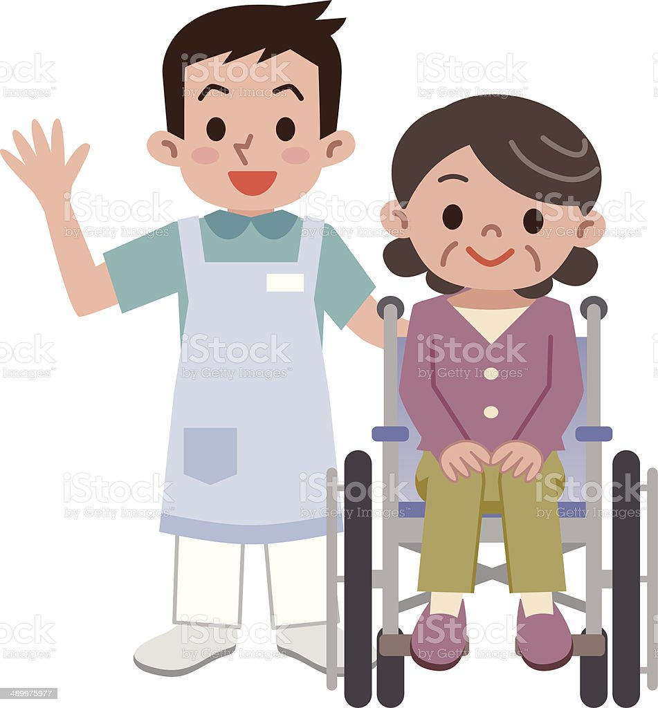 Senior woman in a wheelchair and young caregiver vector art illustration