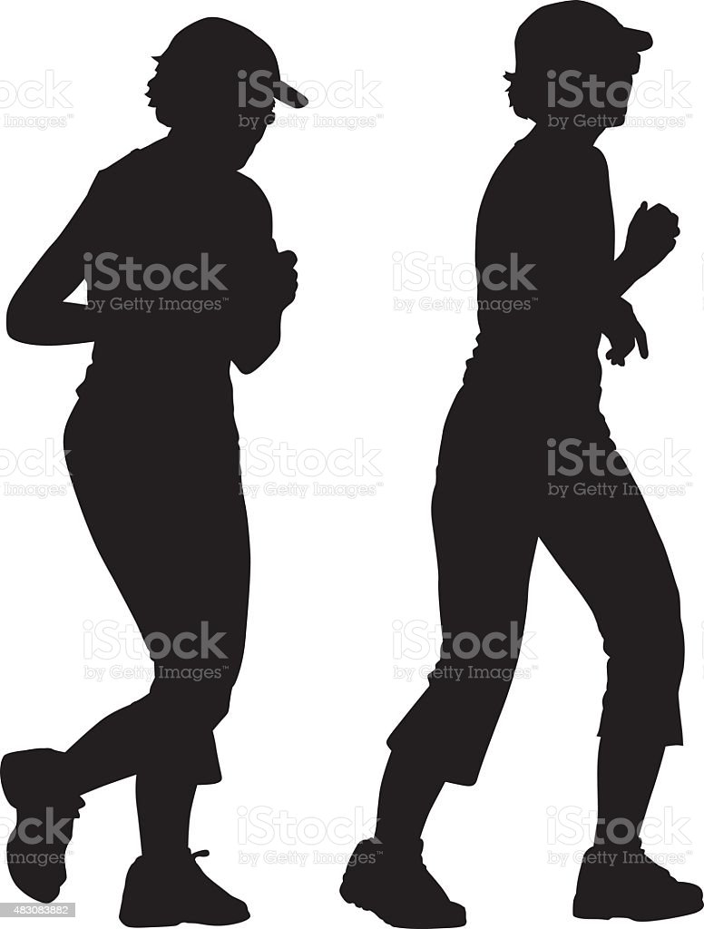 Senior Woman Jogging Silhoute vector art illustration