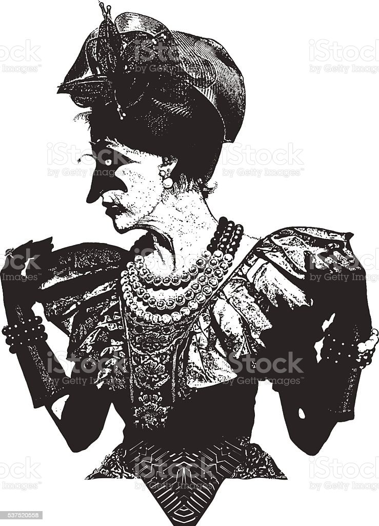 Senior Woman With Scary Masquerade Costume vector art illustration