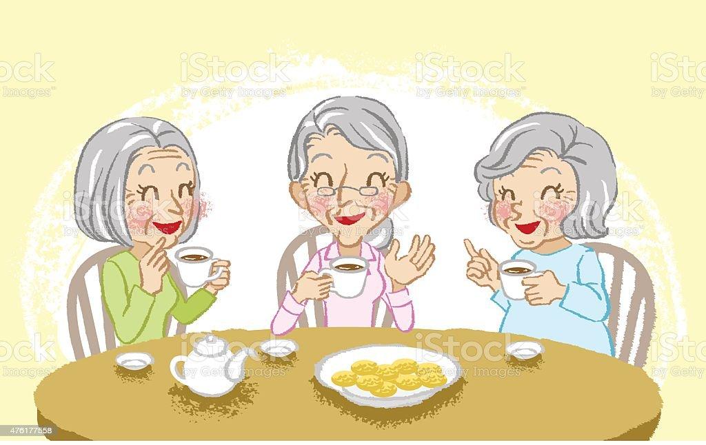 Senior women cheerful tea time vector art illustration