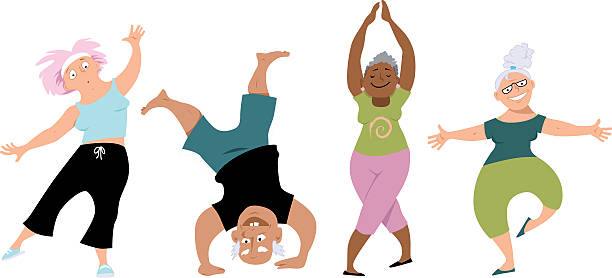 Senior Exercise Clip Art, Vector Images & Illustrations