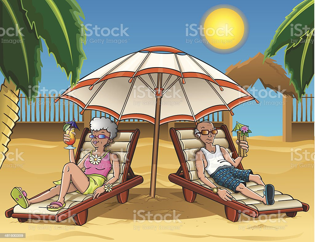 Seniors at the beach vector art illustration