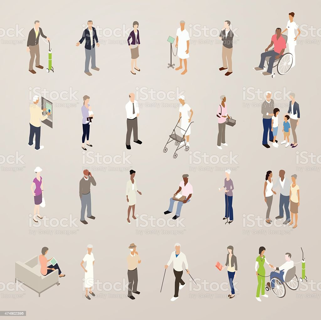 Seniors - Flat Icons Illustration vector art illustration