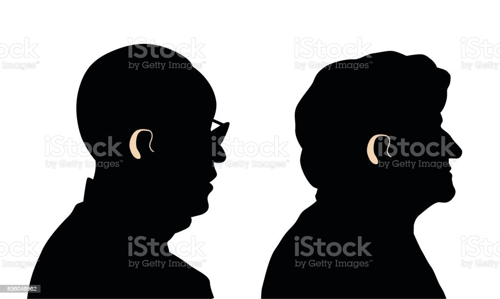 Senior's Hearing Aid vector art illustration