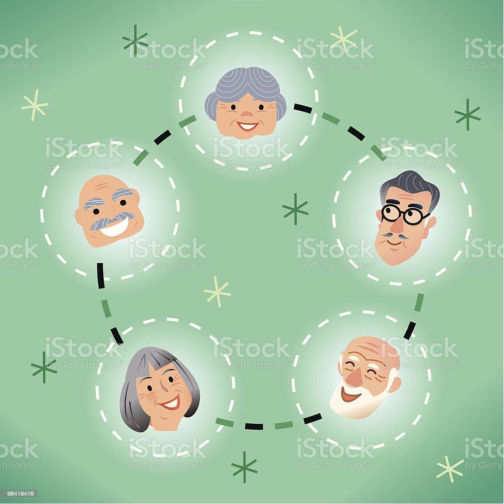 Seniors Network royalty-free stock vector art