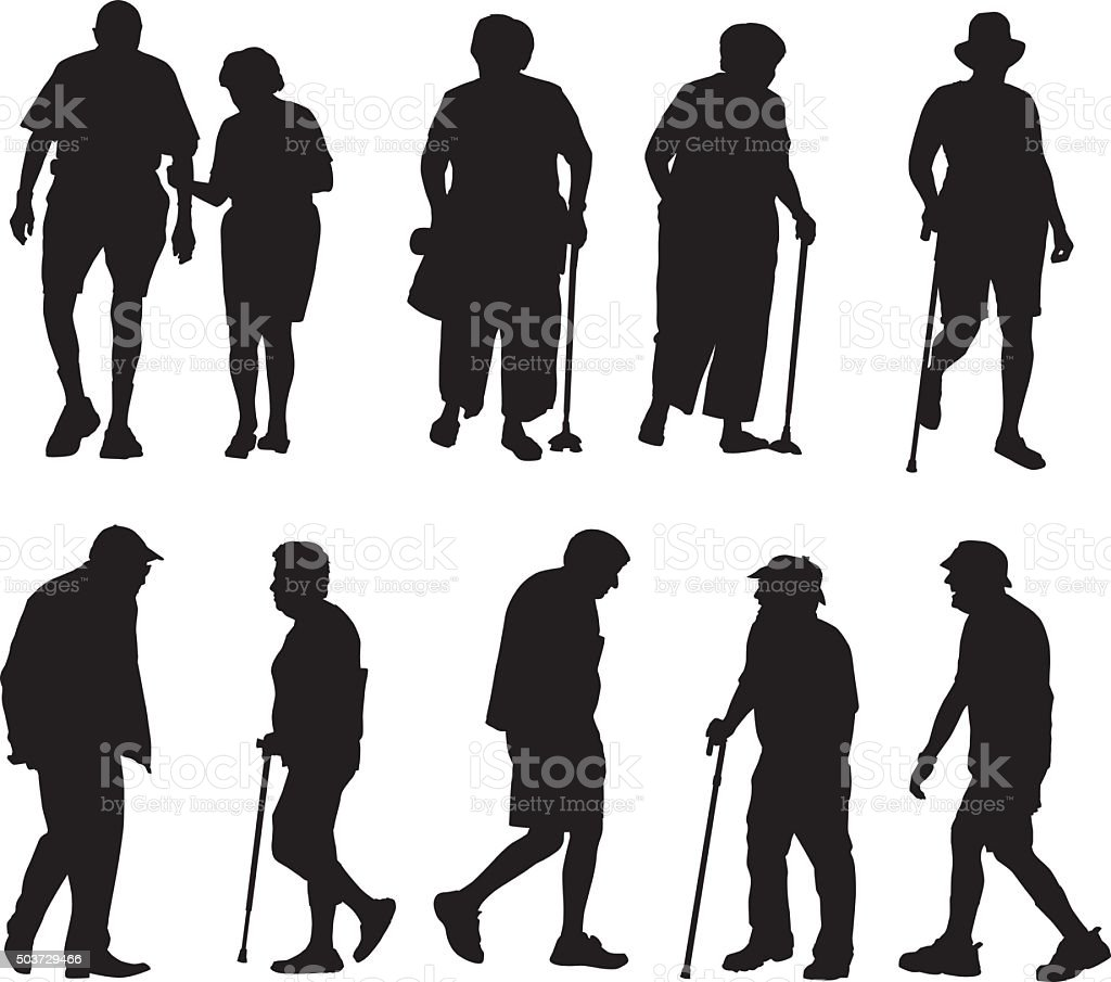 Seniors Walking Silhouettes vector art illustration