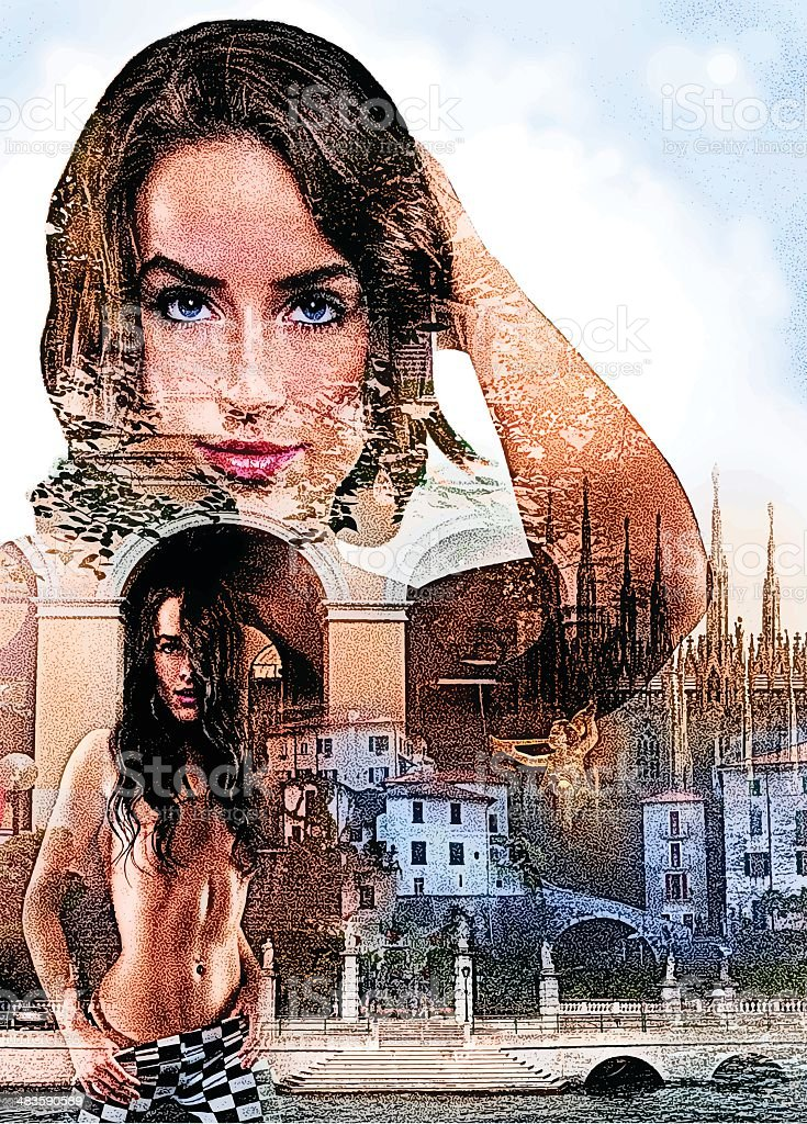 Sensuous European Woman vector art illustration