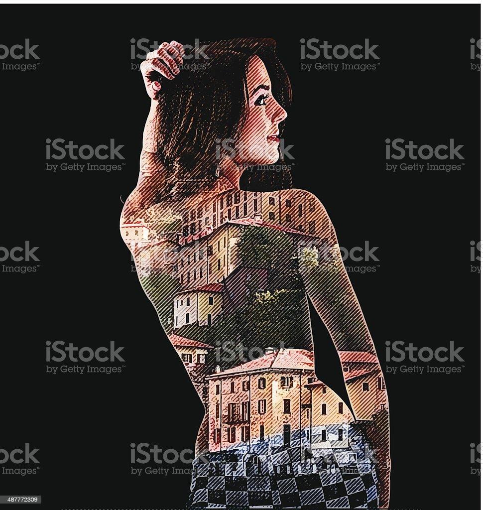 Sensuous Woman and Italian Villas vector art illustration