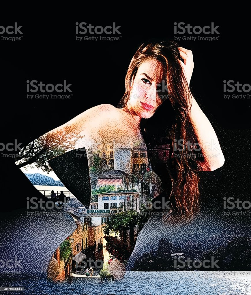 Sensuous Woman In Northern Italy vector art illustration