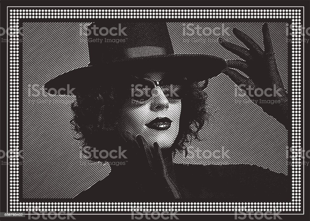 Sensuous Woman with black hat and satin gloves. vector art illustration