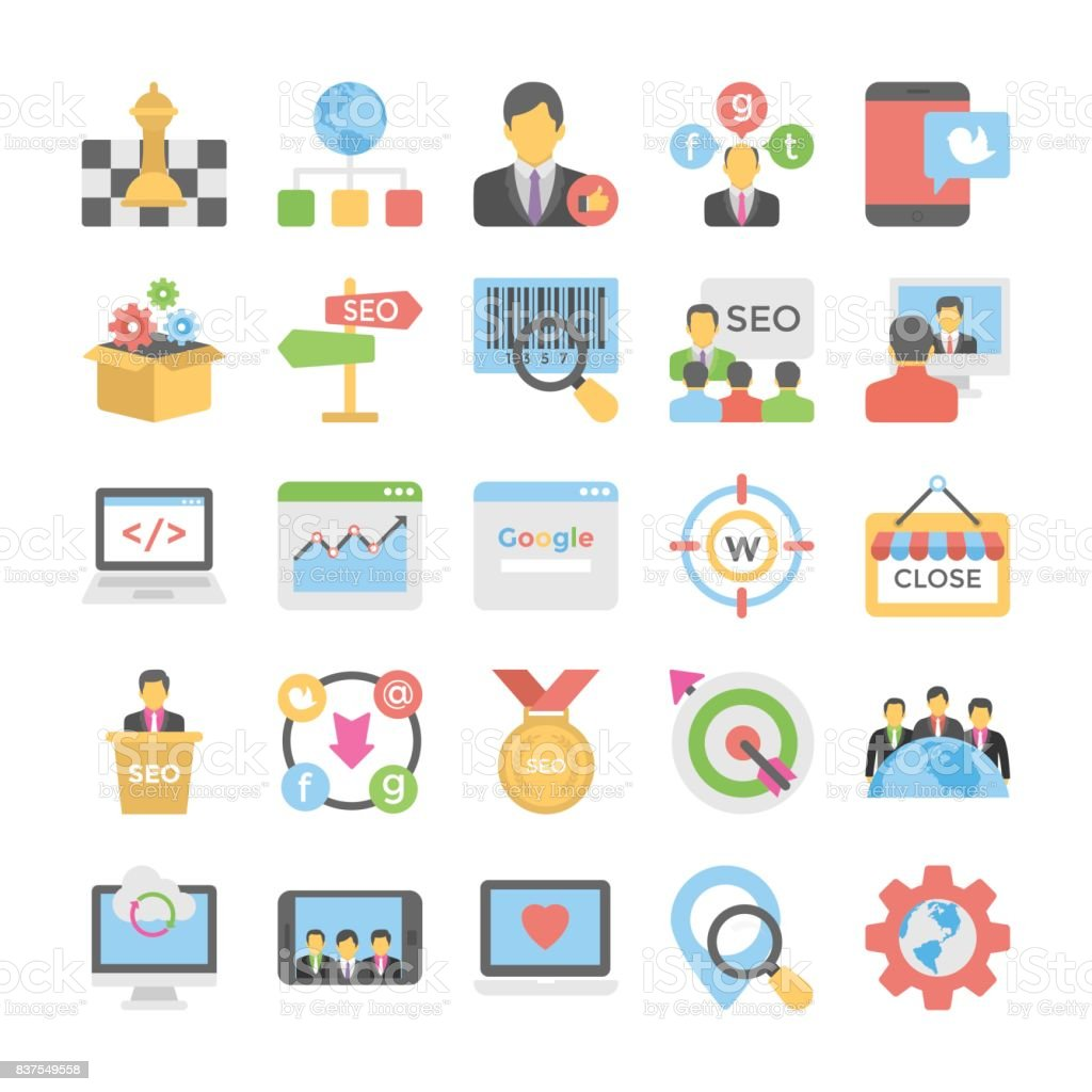 Seo and Digital Marketing Flat Colored Icons 6 vector art illustration