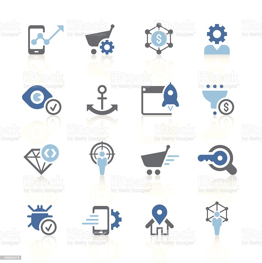 seo and marketing icons   azur series royalty-free stock vector art