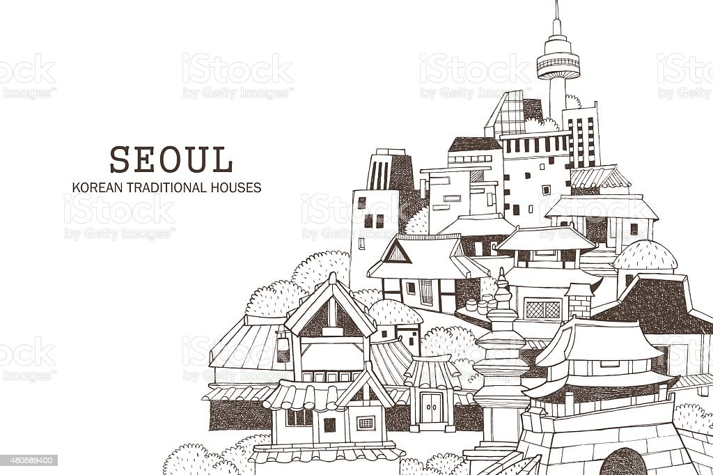 Seoul city and Korean architecture C vector art illustration