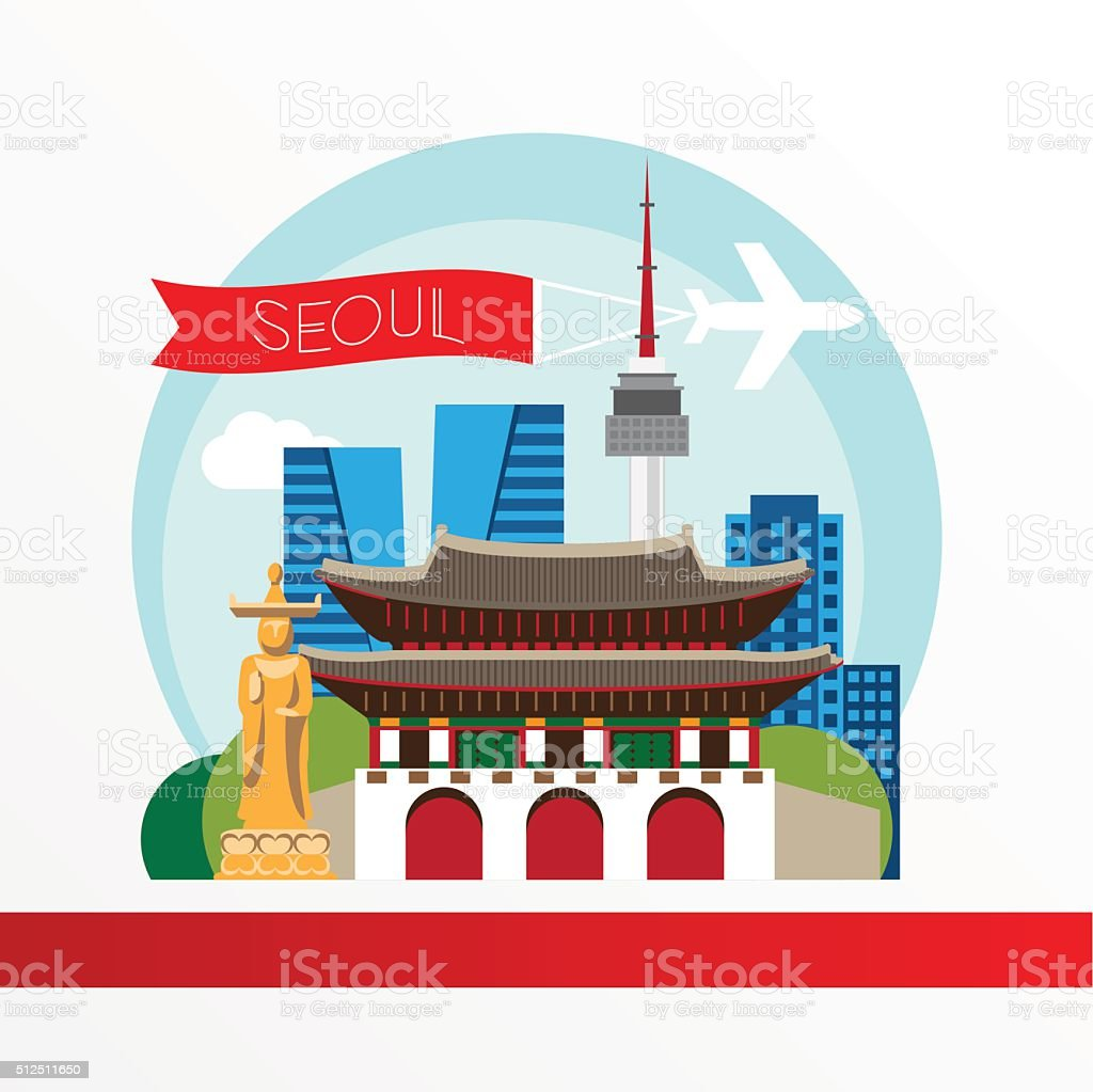 Seoul, detailed silhouette. Trendy vector illustration, flat style. vector art illustration