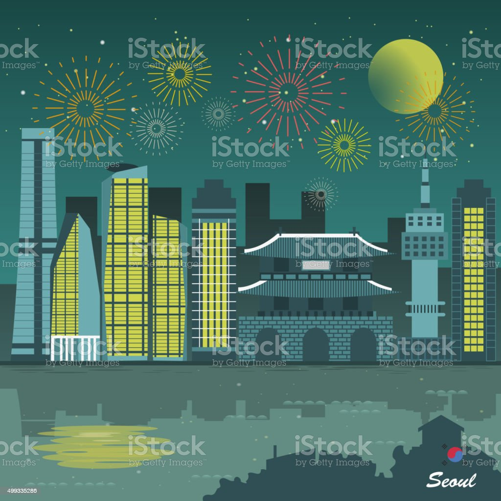 Seoul night scenery vector art illustration