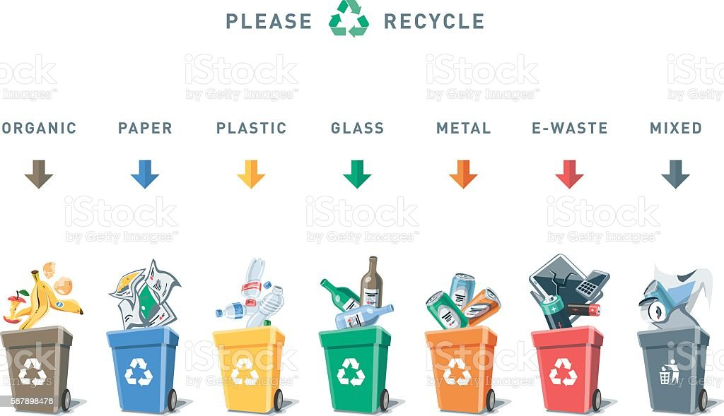 Separation Recycling Bins with Trash vector art illustration