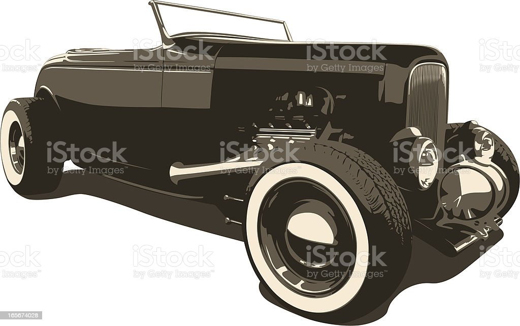 Sepia Hot Rod - 1932 vector art illustration