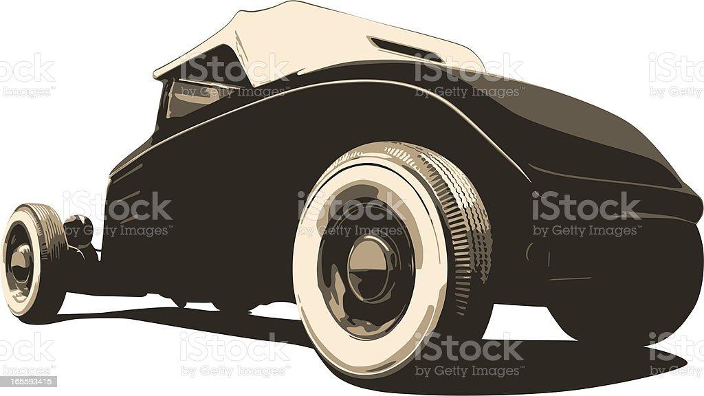 Sepia Hot Rod - Vector vector art illustration
