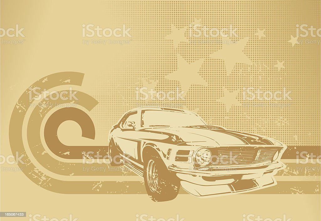Sepia muscle car motif vector art illustration