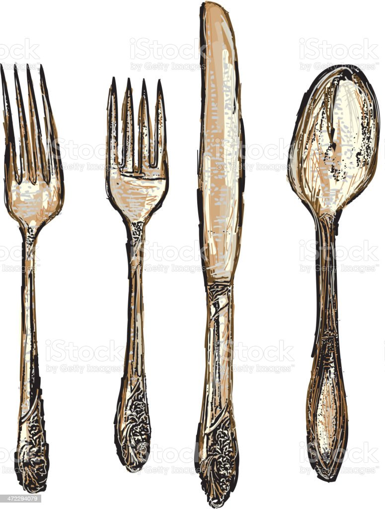Sepia tone set of antique silverware, fork, knife, spoon royalty-free stock vector art