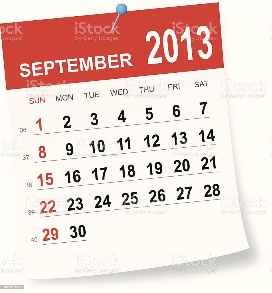 September 2013 calendar royalty-free stock vector art