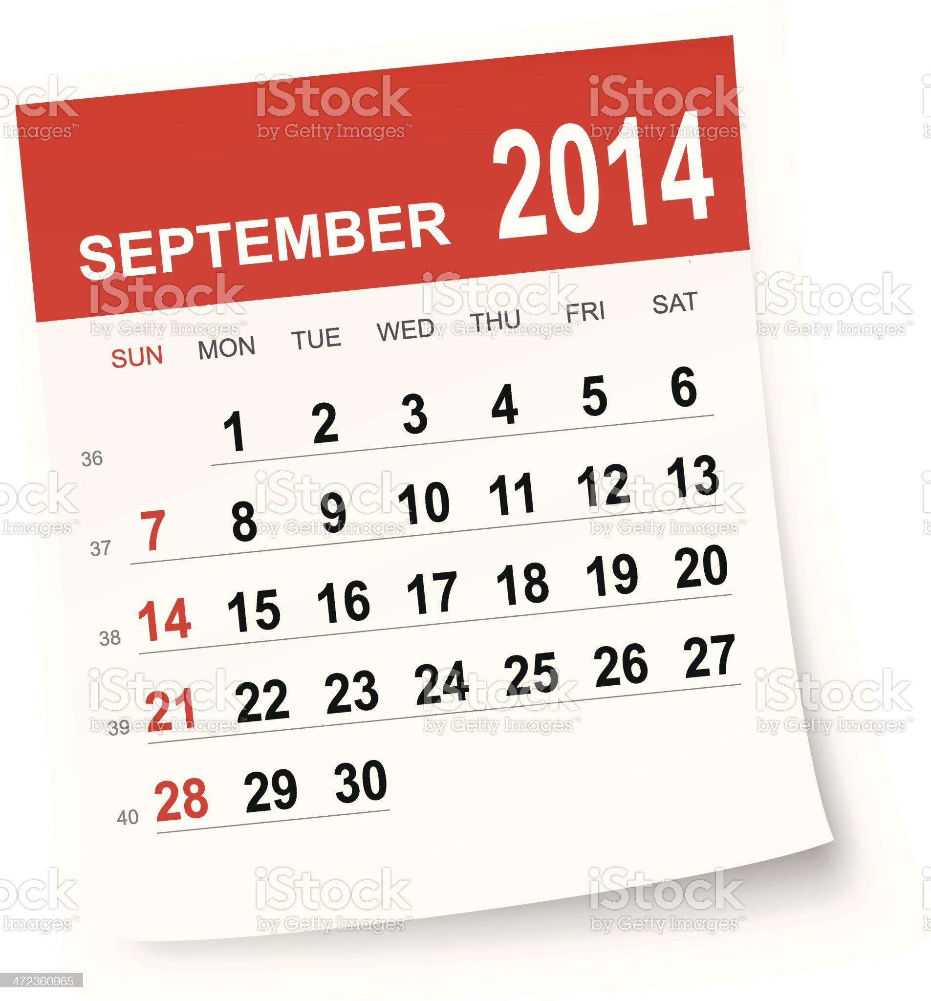 September 2014 calendar royalty-free stock vector art