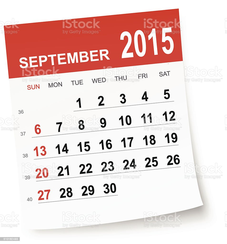 September 2015 calendar vector art illustration