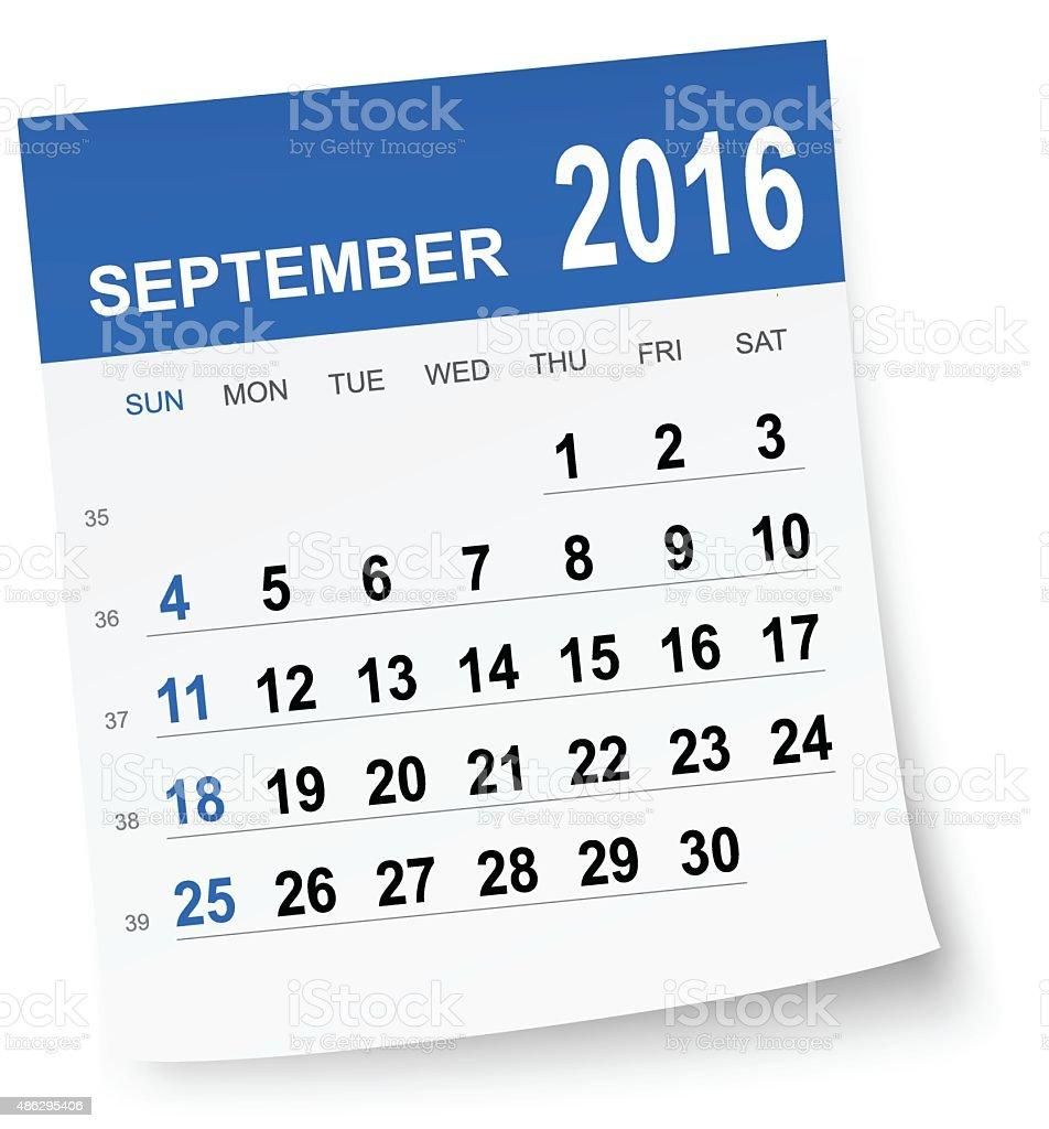 September 2016 calendar vector art illustration