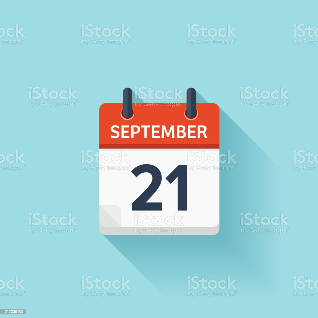 September  21. Vector flat daily calendar icon. Date and time vector art illustration