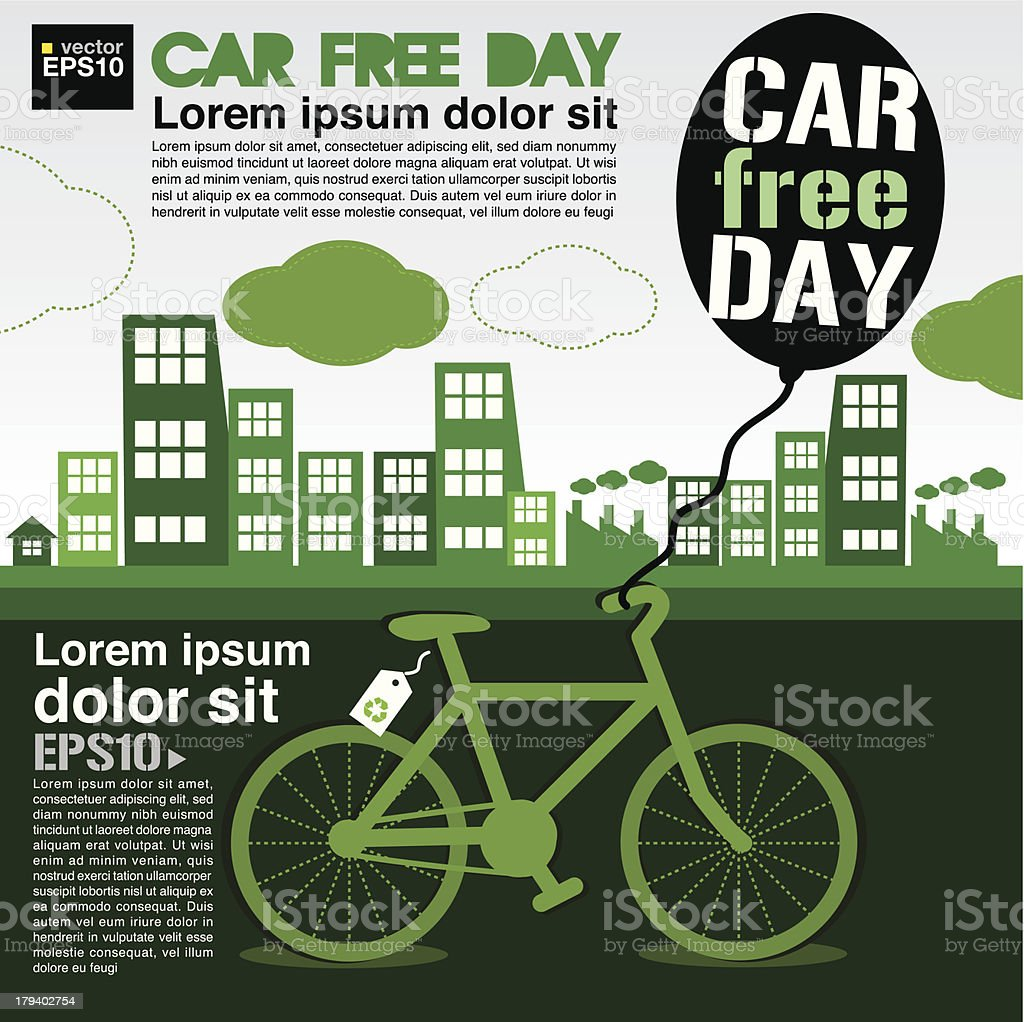 September 22nd World car free day ecology conceptual. royalty-free stock vector art