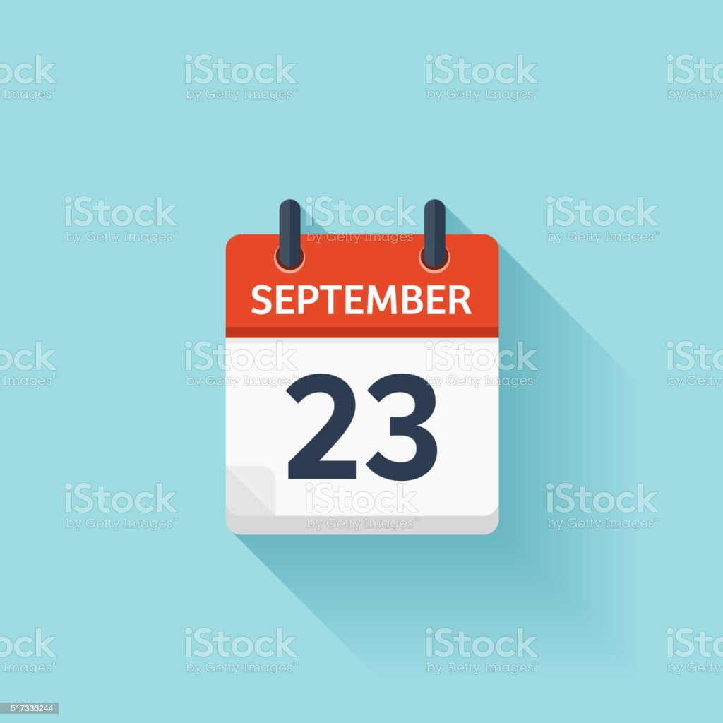 September 23 . Vector flat daily calendar icon. Date and time vector art illustration