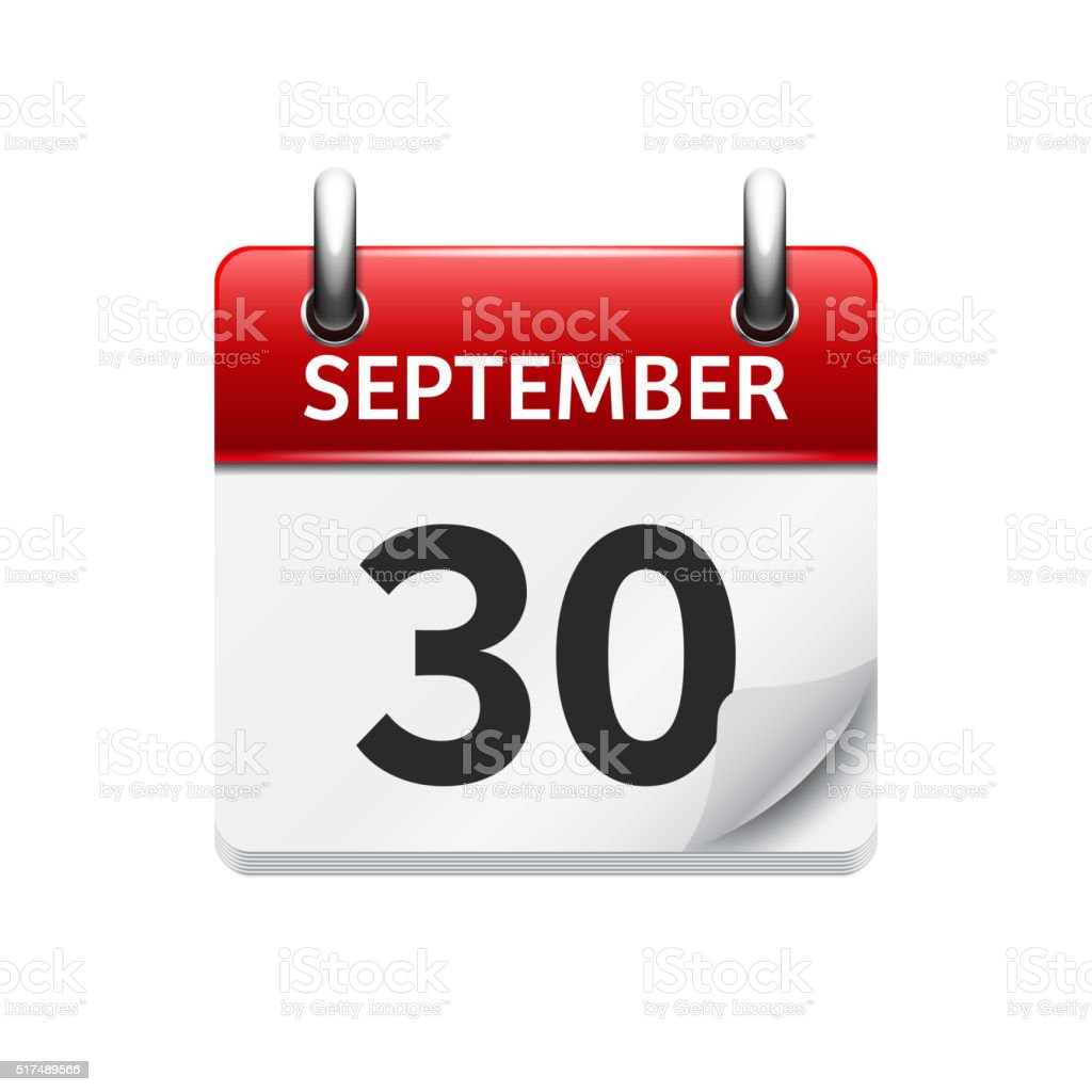 September  30. Vector flat daily calendar icon. Date and time vector art illustration