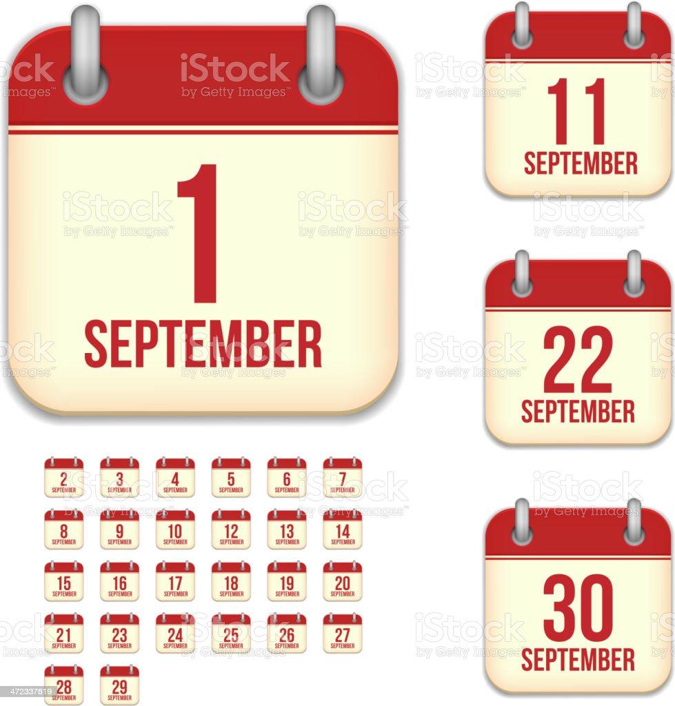 September days. Vector calendar icons vector art illustration
