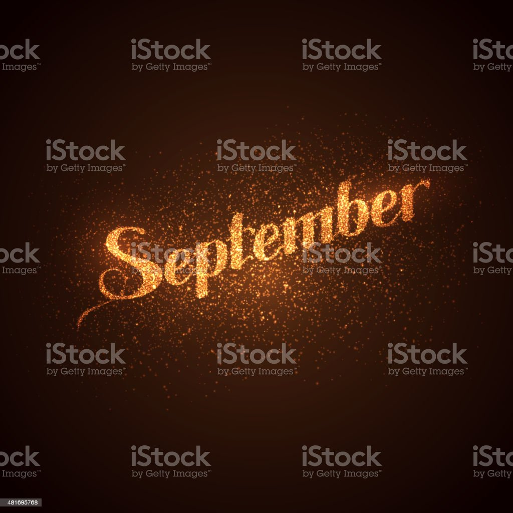 September label with glowing golden sparkles. vector art illustration