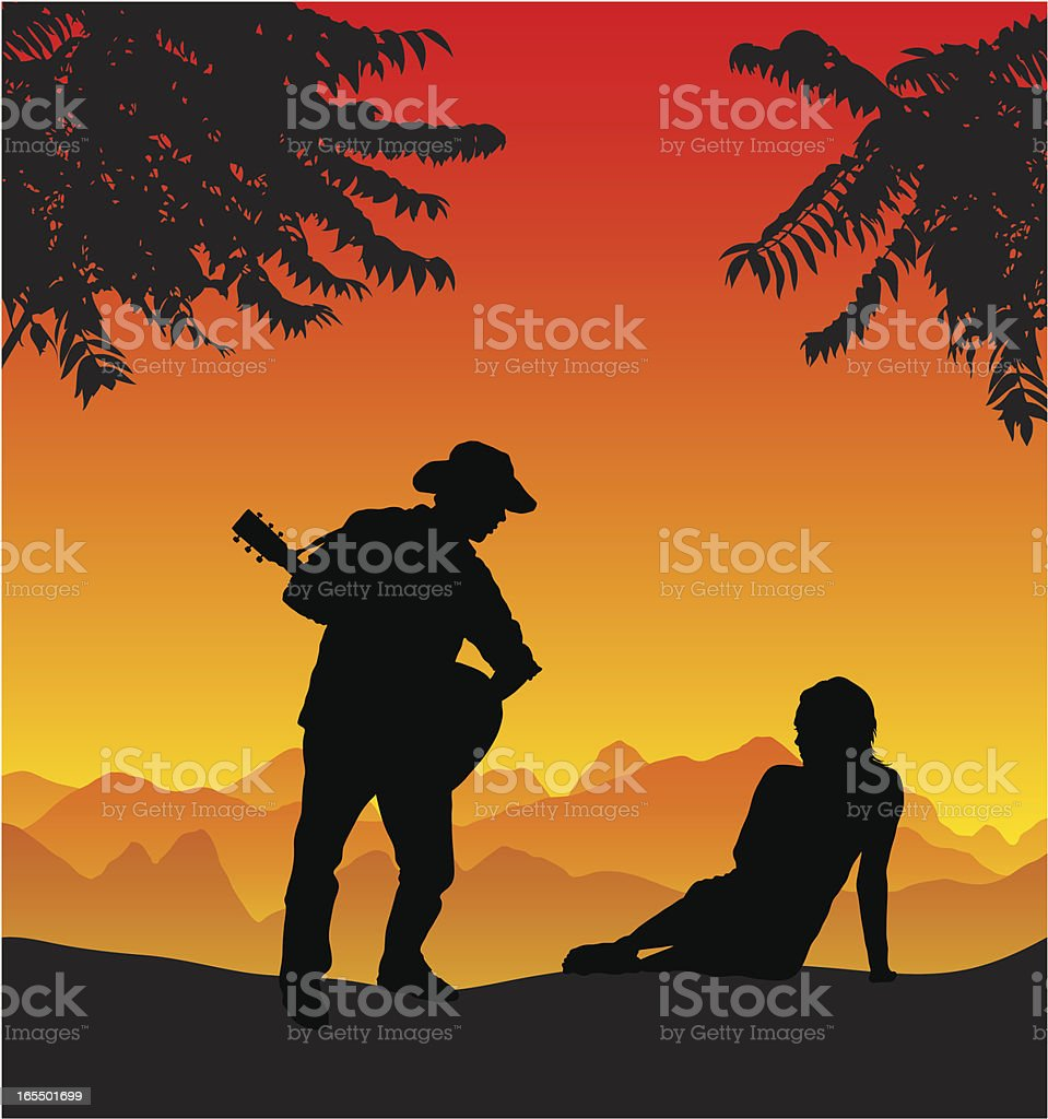 Serenade a beautiful girl at sunset royalty-free stock vector art