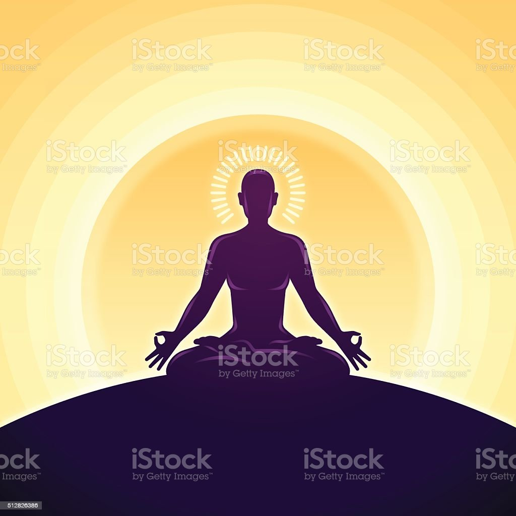 Serene Meditation and Yoga vector art illustration