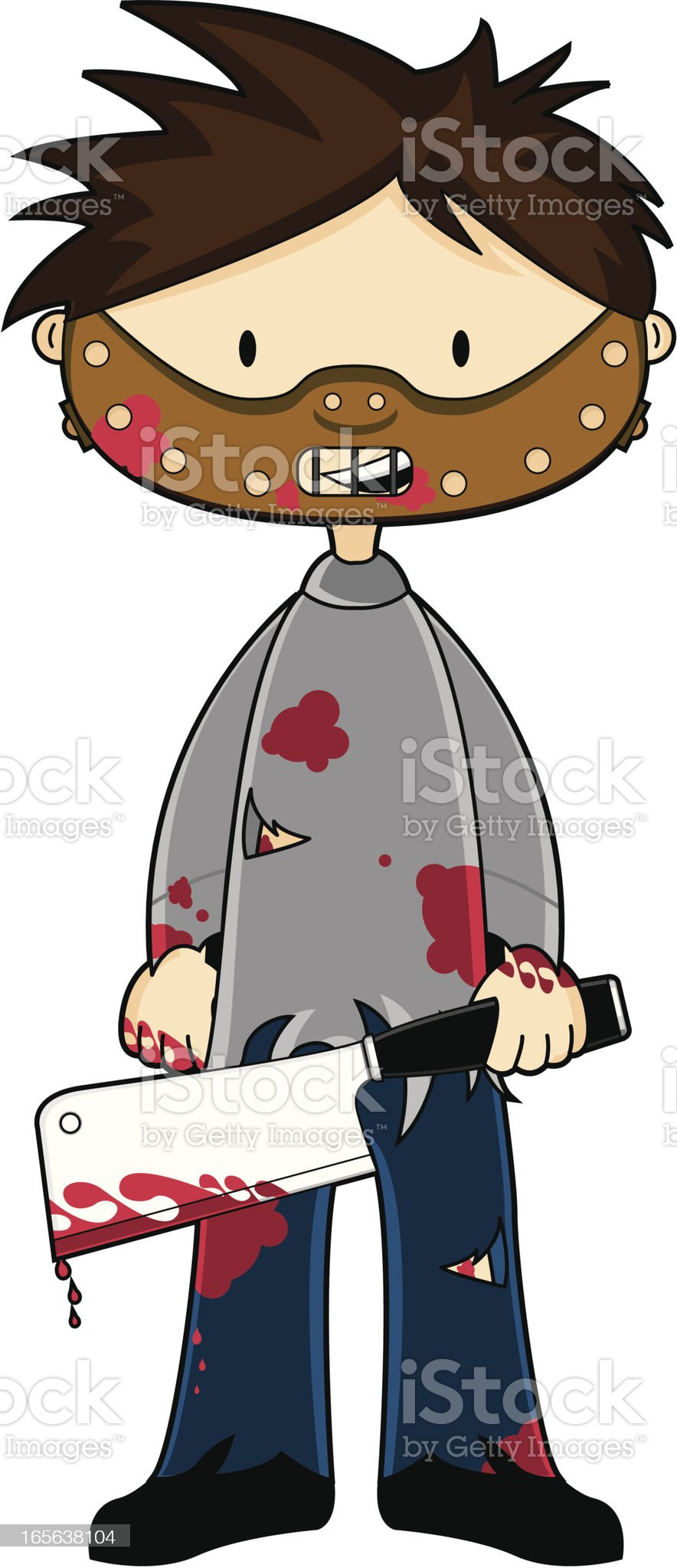 Serial Killer with Meat Cleaver royalty-free stock vector art