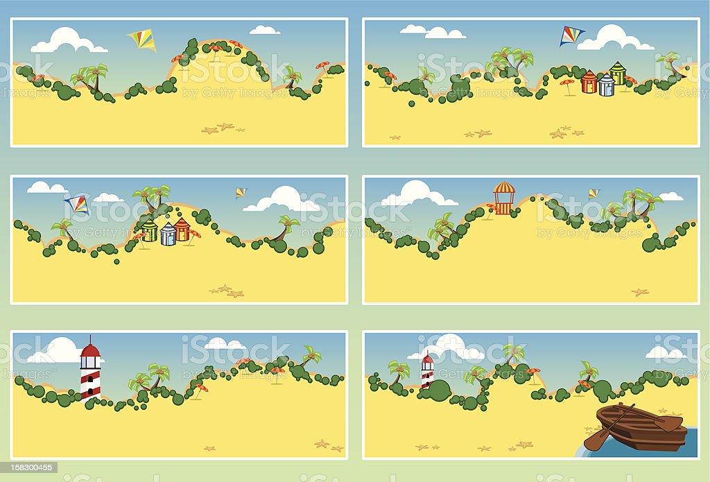 Serie of 6 sunny beach settings royalty-free stock vector art