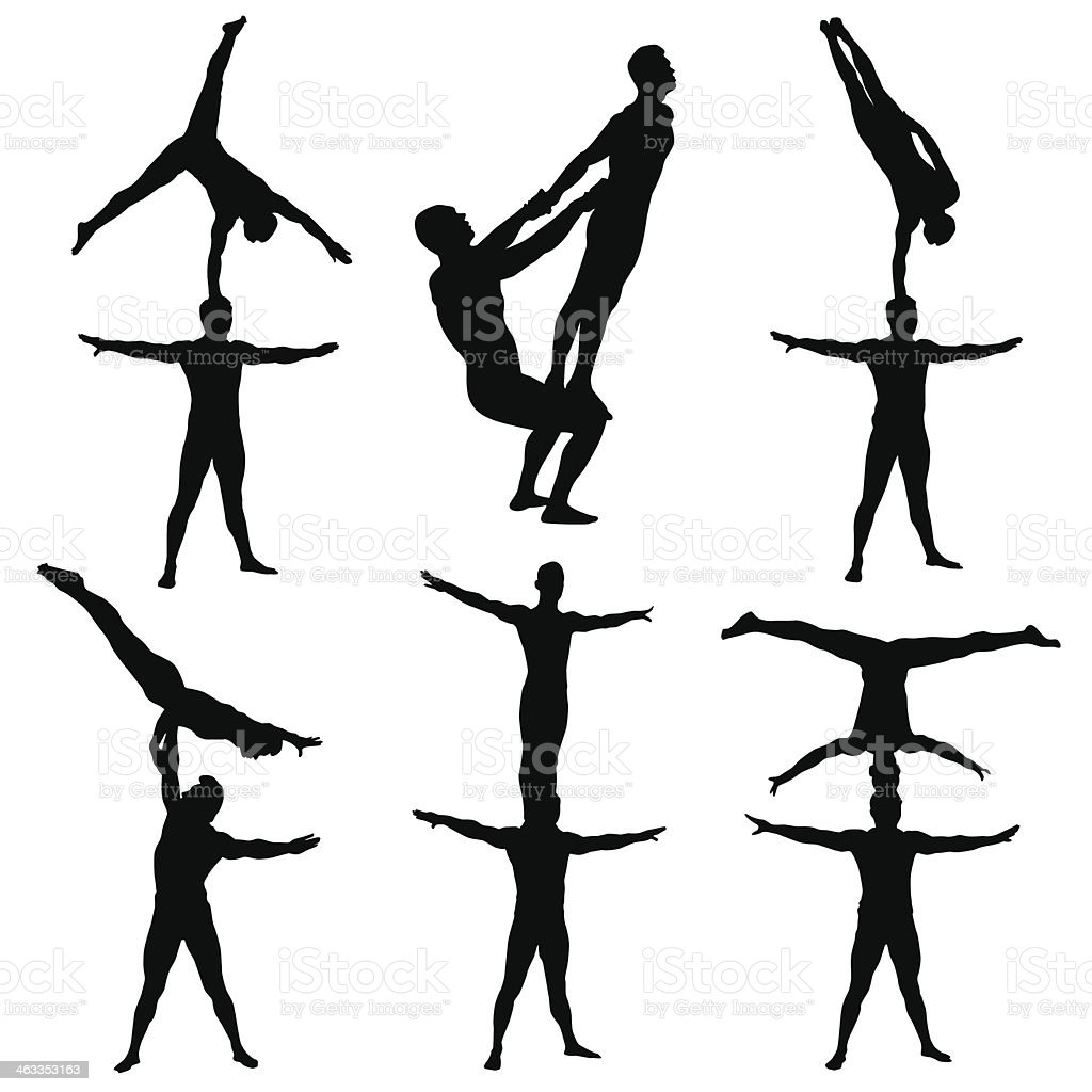 Series of acrobatics in black and white vector art illustration