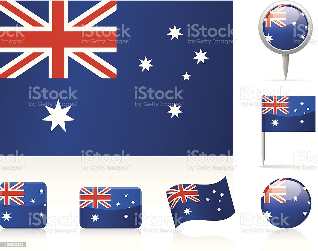 Series of Australian flags royalty-free stock vector art